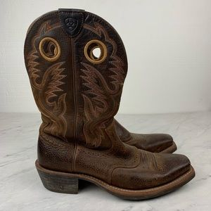 Ariat Brown Leather Pull On Cowboy Boots, Size 12D